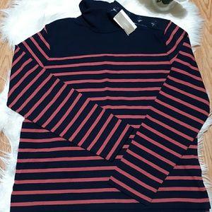 J Crew Button Shoulder Turtleneck Sweatshirt Top S